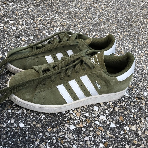reputable site ed374 32928 adidas Shoes - Olive green suede adidas campus sneakers